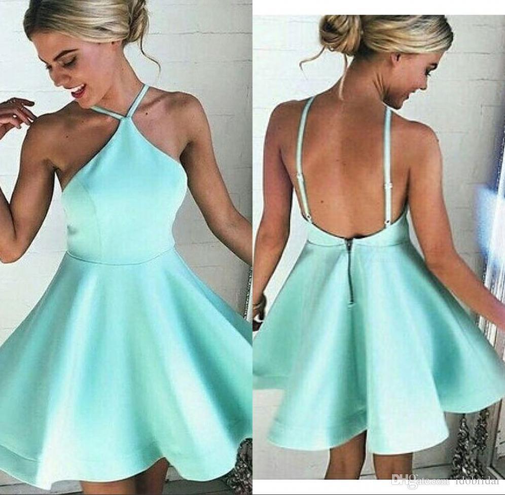 Light Green Sexy Backless Mini Skirt Semi Formal Homecoming Dresses
