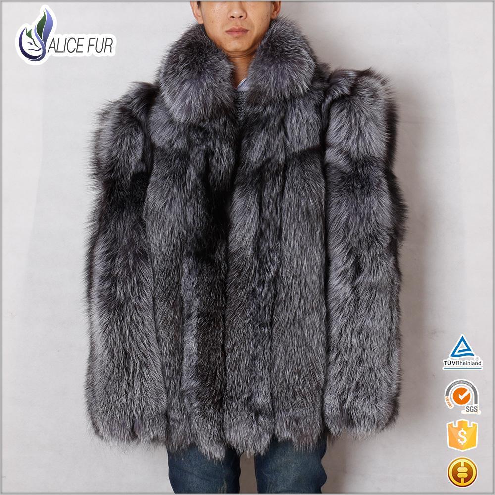 Wholesale Winter Men Coat 2016 Russian Style Genuine Silver Fox ...