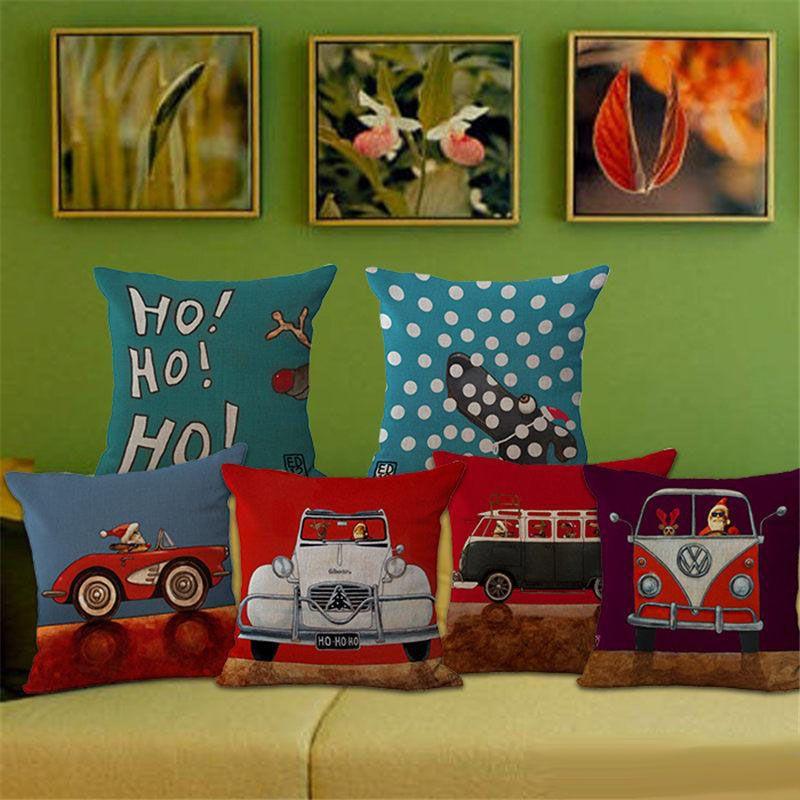 Christmas Series Pillow Case Driving Dog Cotton Sofa Pillow Cover