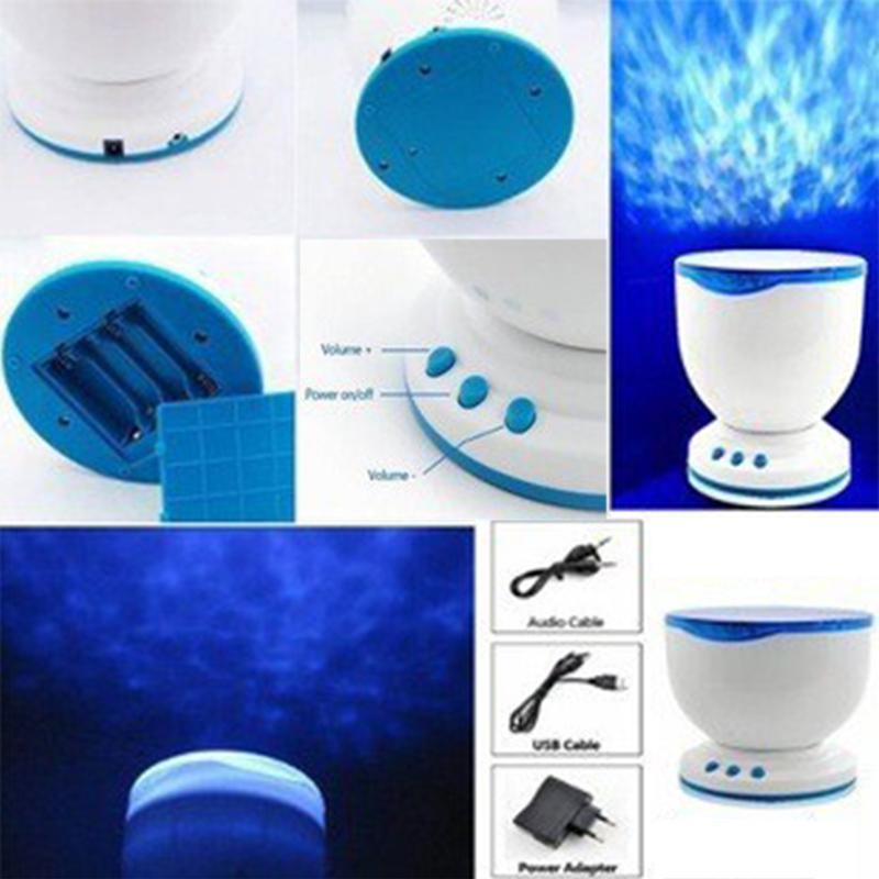 Nachtlichtprojektor Ocean Blue Sea Waves Projektionslampe mit Mini-Lautsprecher