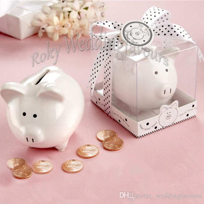 Li'l Saver Favors Ceramic Mini Piggy Bank in Gift Box with Polka Dot Ribbon Bow Baby Shower Kids' Party Gifts