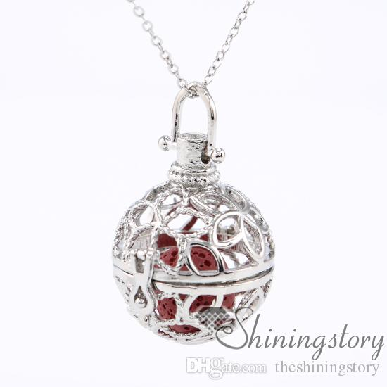 ball flower diffuser necklace aromatherapy jewelry wholesale aromatherapy diffuser necklace necklace oil diffuser metal volcanic stone
