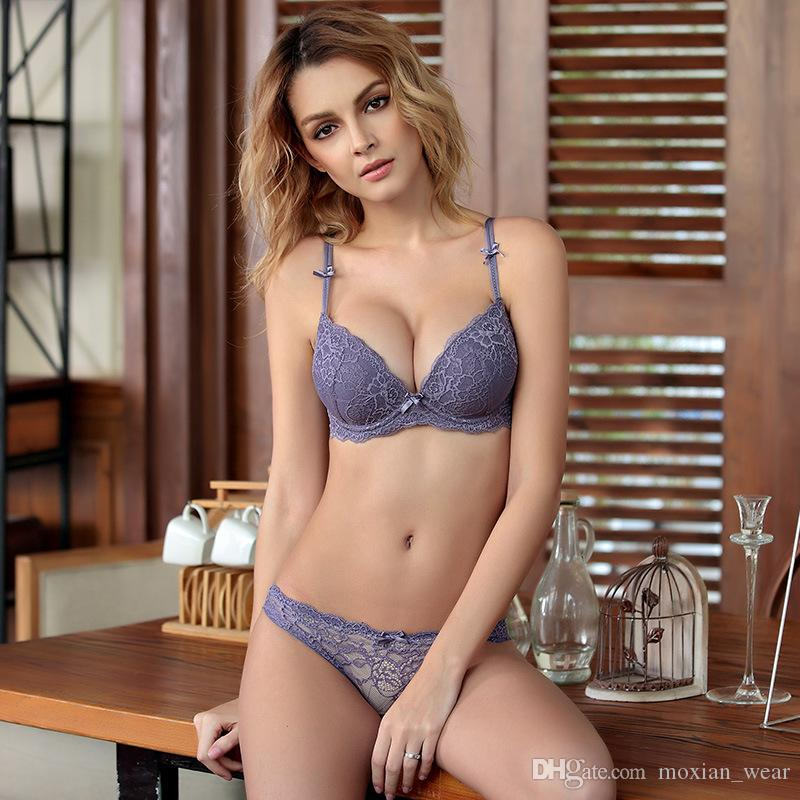 8ec37bb8249 2019 New Bra Adjustment Type Comfortable Side Gather Gather Lace On Thin  Thin Sexy Lingerie Bra Set TZ34609020 W From Moxian wear
