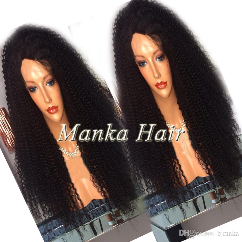 Fast Delivery Brazilian 100% human hair Kinky curly Full lace wig with baby hair Lace front wigs For Black Women