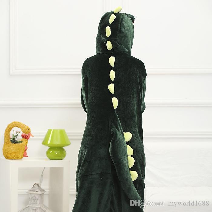 Neue Heiße Verkauf Schöne Günstige Kigurumi Pyjamas Anime Cosplay Unisex Erwachsene Onesie Grün Dinosaurier Kleid Nachtwäsche Halloween S M L XL