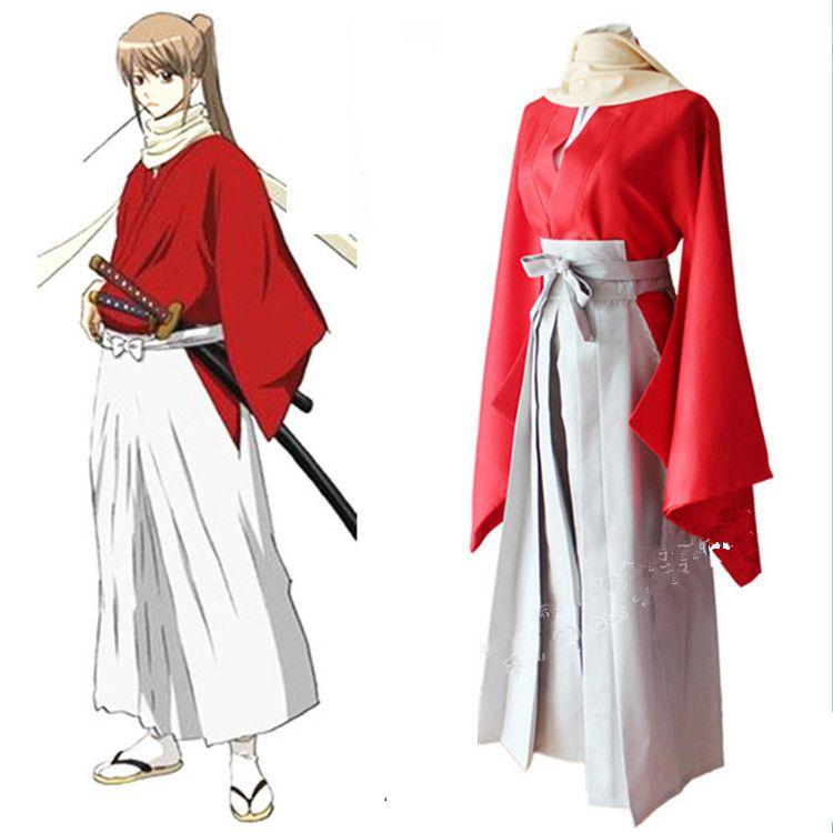 Japanese Anime Gintama Cosplay Okita Sougo Costume for Adults Japanese kimono top+ pants +scarf +waistband set