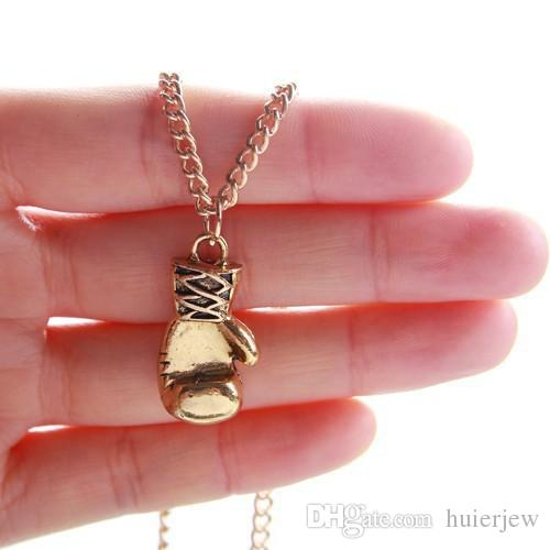 Pendant necklace 2016 Gold/Silver Plated Fashion Mini Boxing Glove Necklace Boxing Jewelry Cool Pendant For Men Boys Chain Necklaces