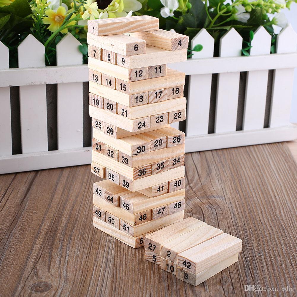 Wiss لعبة طفل لعب الأسرة لعبة خشبية 54 قطع كتل + 4 قطع النرد تراجع برج التراص اللبنات الرقمية لعبة شعبية التعليم هدية