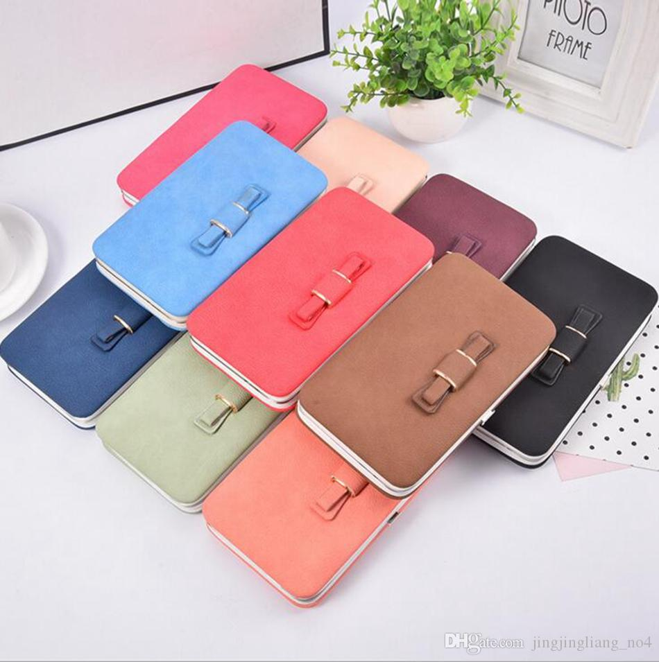 finest selection 14a4a 9974c Bow Wallet Women Long Purse Hasp Design Cell Phone Wallets PU Leather Card  Holder Purse For Ladies Clutches OOA3008