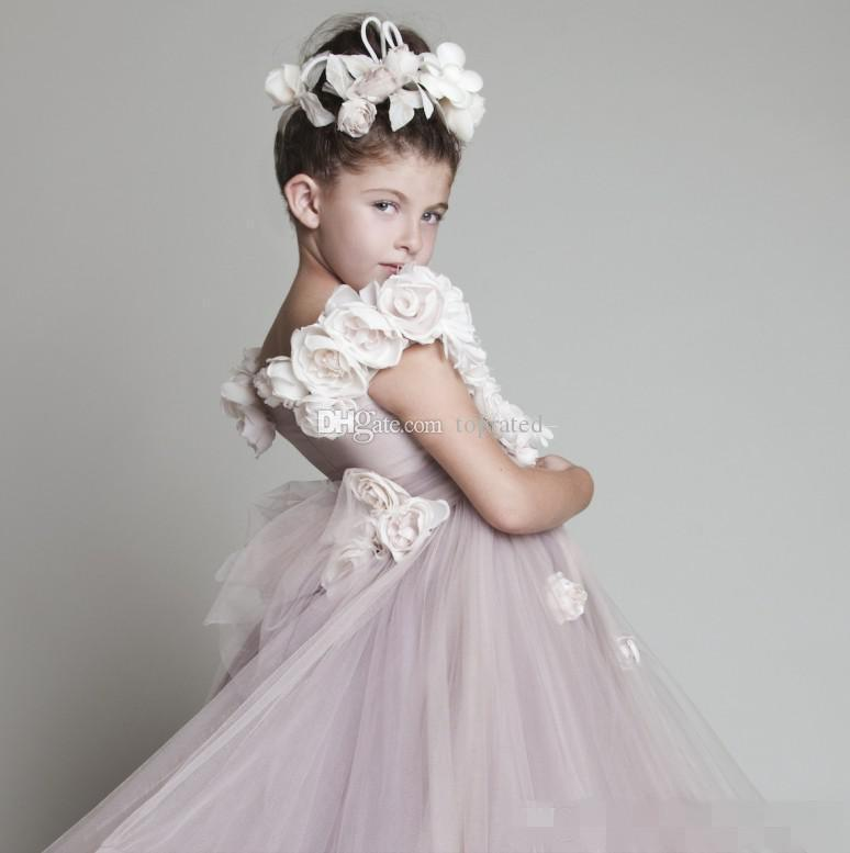 New Lovely New Blush Pink Tulle Ruffled Handmade Flowers One-spalla Vinatage Wedding Flower Girls 'Girl Dress Pageant 2019 a buon mercato