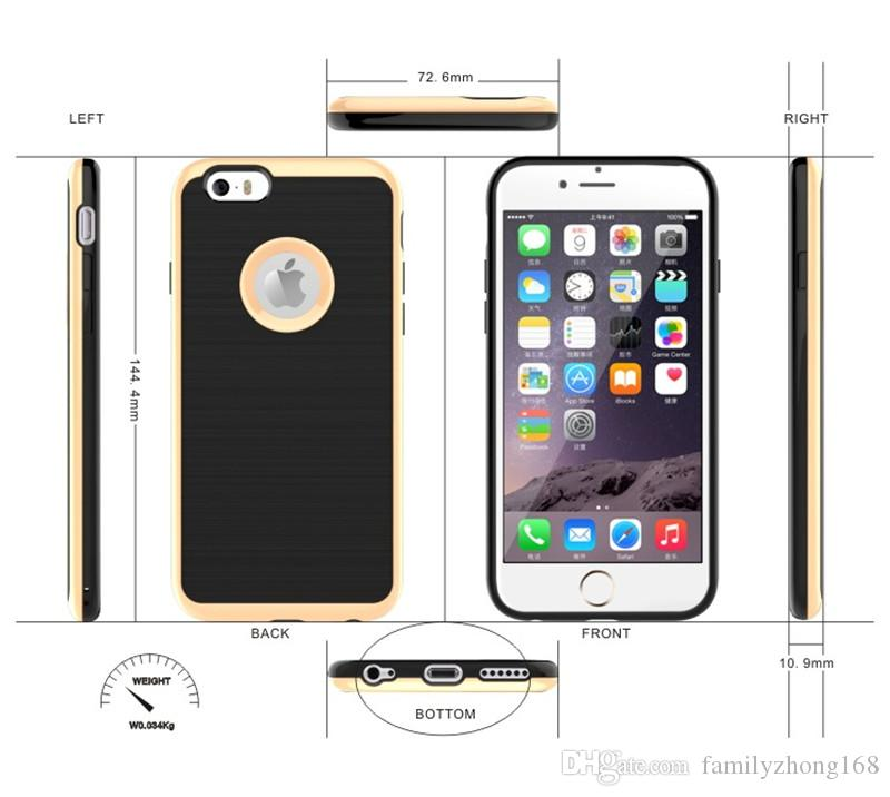 For iphone 6s 7 plus Case Motomo Luxury Metal Aluminum Brushed + PC Hard Back Cover Skin,Ultra Thin Slim Brush Cases 3in 1 Dual Layer L-SW
