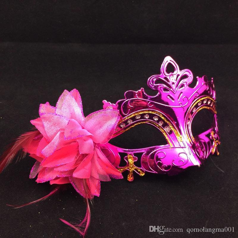 On Sale Gold Plating Party Masks Half Face Woman Masks Feather Flower Aside Venetian Masquerade Mask Mix Color