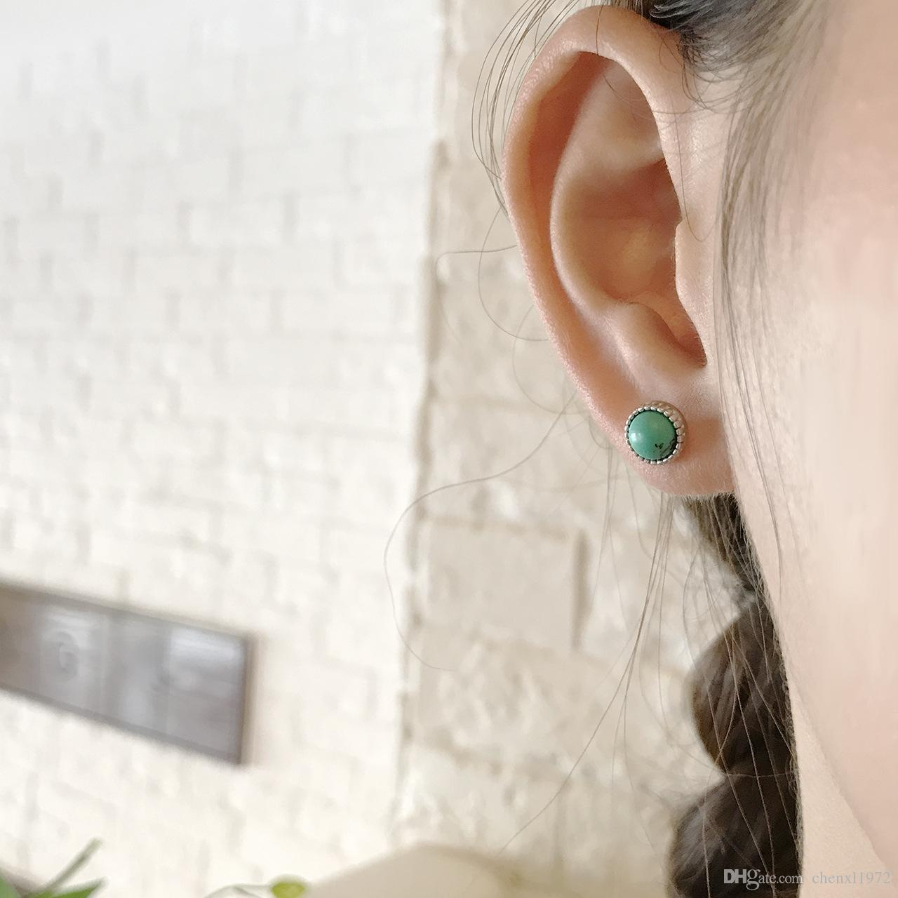 S925 pure silver fashion simple white Turquoise marble square ear nail