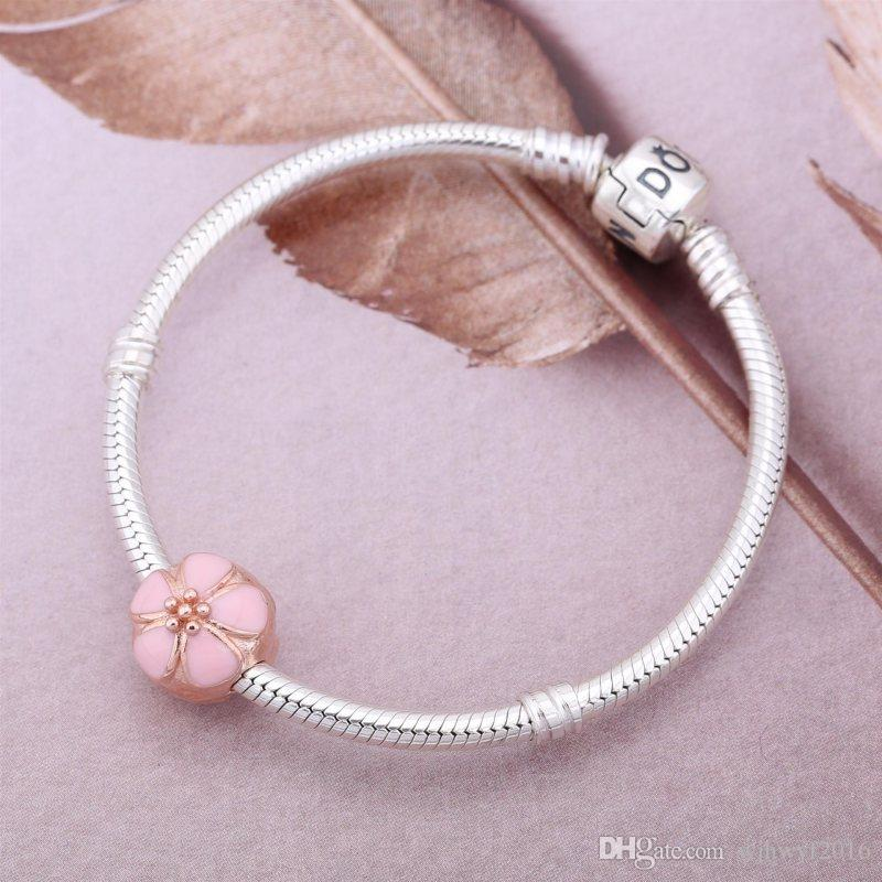 2017 Summer Collection Rose Gold Plated Cherry Blossom Clip Beads 925 Sterling Silver Flower Lock Clip Fits Beads Bracelets DIY BF202