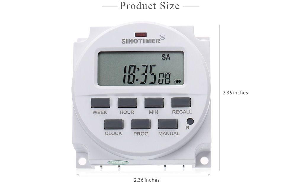SINOTIMER 220 - 240V AC / 12V DC 7 일 프로그래머블 타이머 스위치, UL 내부 릴레이 및 카운트 다운 시간 기능 HOT + TB