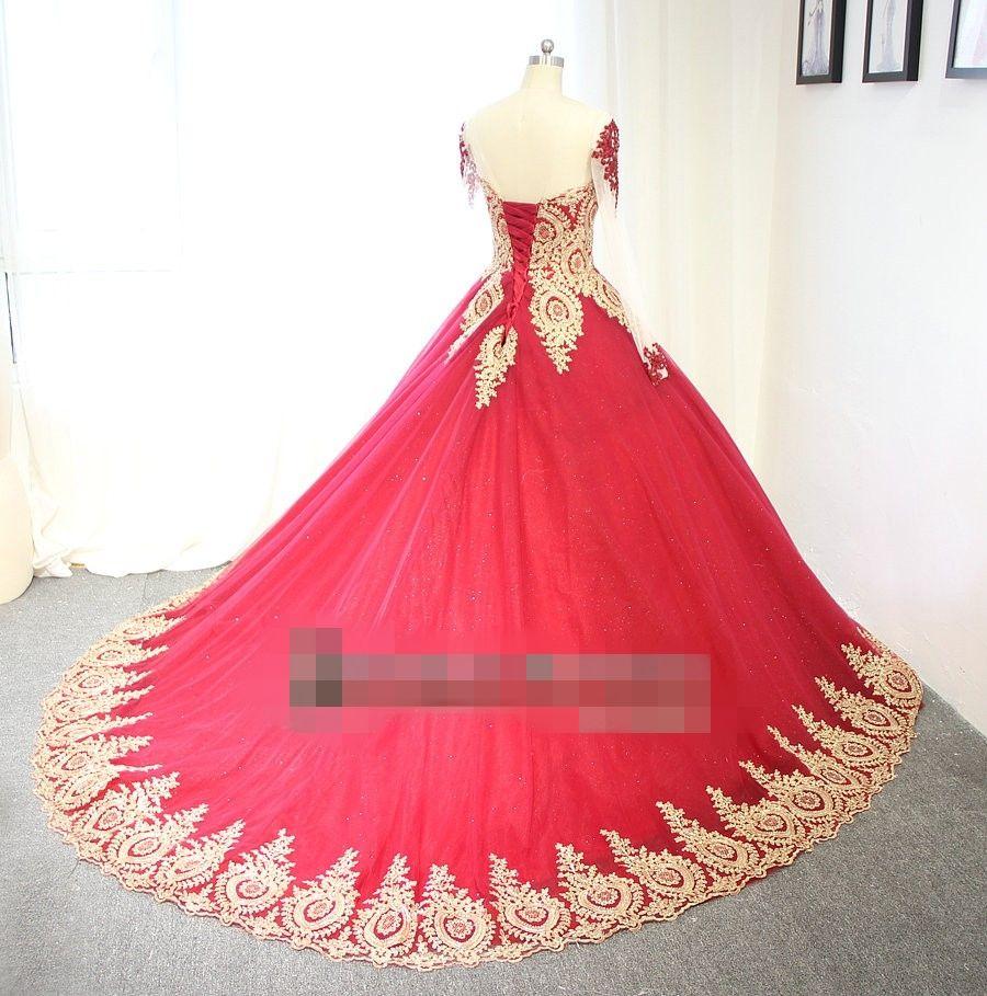 Nowe Suknie ślubne Suknie Ślubne Czerwone i złote z długim rękawami Gorset Non Białe Kolorowe Suknie Ślubne Arabska Formalna Dress Custom