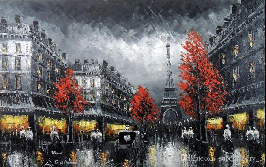 2018 framed paris eiffel tower black s scenehandpainted scenery art oil painting on high quality canvassize can customized from
