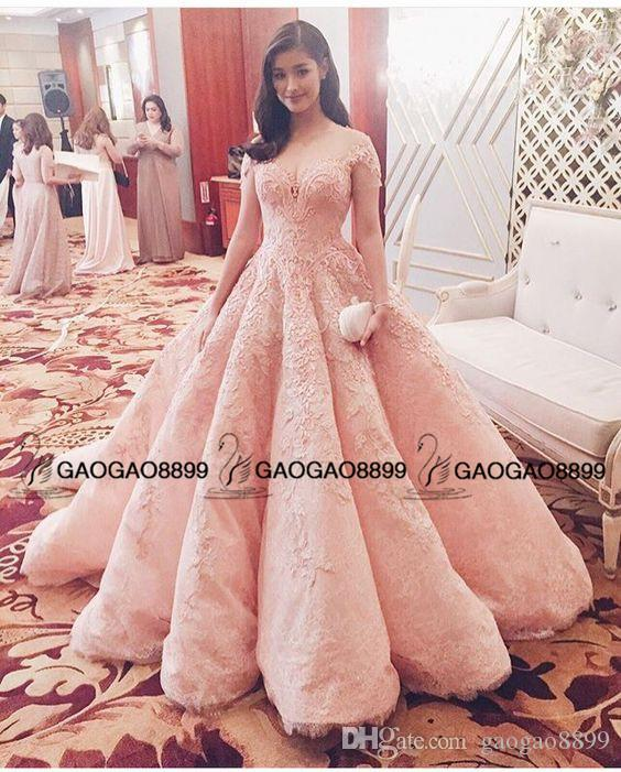 Liza Soberano in Michael Cinco Blush Pink Lace Pearls Ball Gown Prom Dresses Dubai Arabic Cap Sleeve Princess Royal Dresses Evening Wear