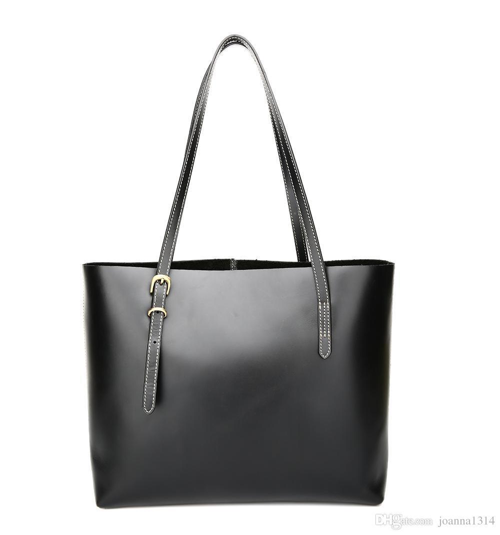 42877b5a13 KISSUN Factory Women Leather Shopping Bag Tote Bag Black Veg Tanned ...