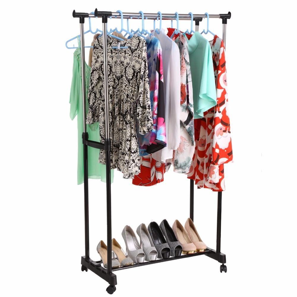 2018 Double Clothing Racks Hanger Furniture Folding Clothes Rail  # Gebrauchte Muebles