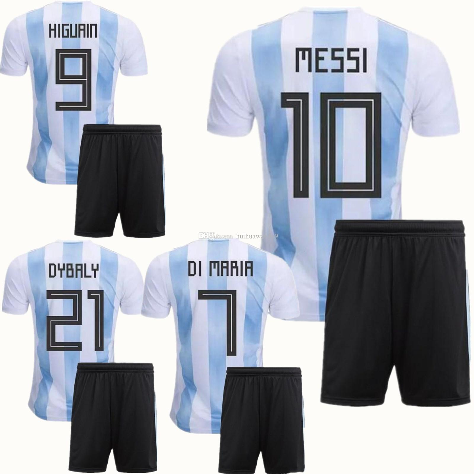 Compre 2018 Conjuntos De Futebol Da Copa Do Mundo Argentina 10 MESSI DI  MARIA AGUERO KOMPANY DYBALA Jersey Casa Azul Kit Adultos Uniforme Argentina  Futebol ... d4eefc1a9ed0b