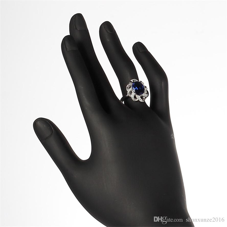 925 sterling silver Promotion heart set ring/earring/pendant Noble Generous S-ssz#6 7 8 9 Dark Blue Cubic Zirconia The new listing