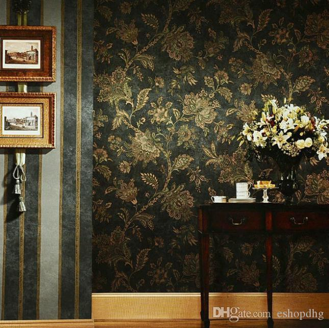 Rustic Black And Gold Wallpaper Vintage Wall Paper Embossed PVC Background Floral For Living Room Desktop Free