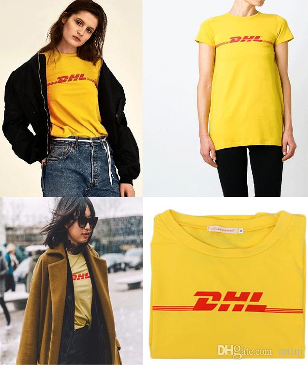 Discount Lowest Price DHL printed cotton T-shirt VETEMENTS Outlet Websites Discount Manchester Great Sale For Cheap For Sale Vyrj264B