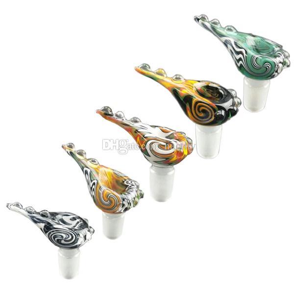 Polvo colorido Leg Bowl Estilo Vivid cores Taça de vidro 14mm 18mm Macho comum Taças de Vidro para Tubos De Vidro De Fumar
