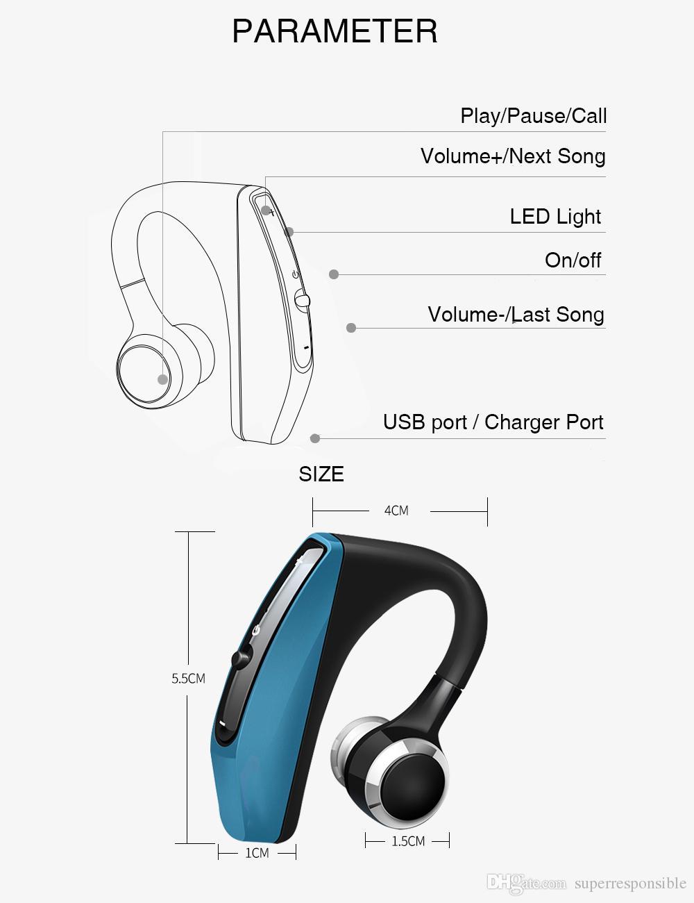 Vitog Auricolare Bluetooth V12 Wireless Business vivavoce Ufficio cuffie auricolari con il Mic Voice Control Noise Cancelling con il pacchetto