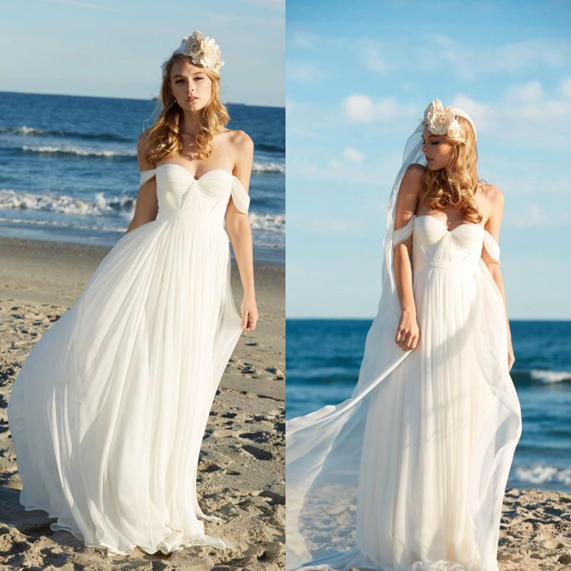 Discount 2016 Spring Flowing Beach Wedding Dresses Cheap High Quality Off The Shoulder Ruched Chiffon Sweetheart Bridal Gowns Custom Made Designer A Line