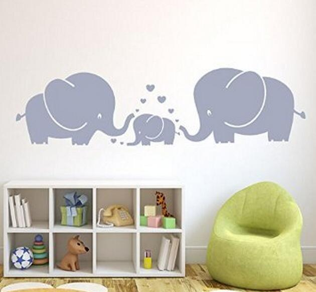 D Three Cute Elephants Parents And Kid Family Wall Decal With - Wall decals baby room