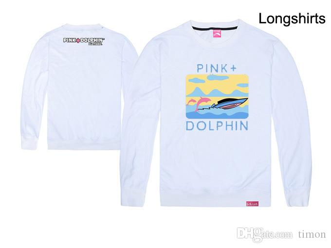 Fashion Men's Pink dolphin t shirts Hip Hop Printing Clothing cotton Autumn tops long sleeve Brand tee o-neck Top