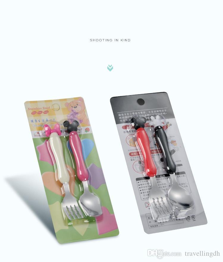 / set vaisselle bébé dessin animé vaisselle set enfants en acier inoxydable créatif portable fourchette cuillère ensembles enfants outils d'alimentation