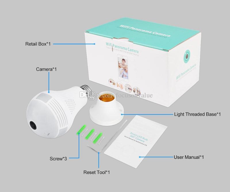 Bulb Light Wireless IP Camera HD 960P Wi-fi FishEye Camera 360 degree Panoramic bulb DVR Home Security CCTV Camera with retail box