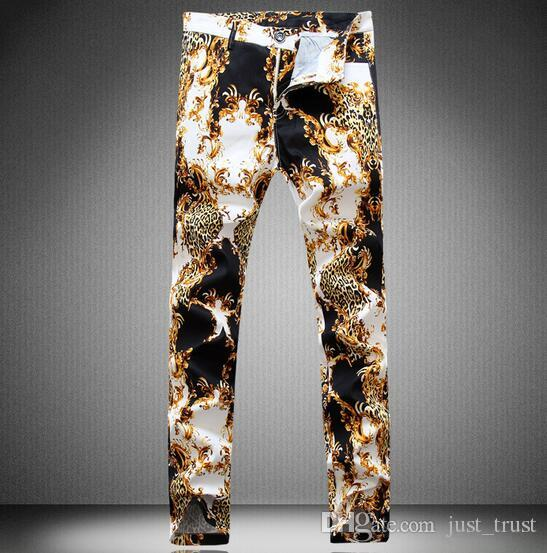 HOT 2016 New Straight Designer barber Snake men Jeans Hiphop Floral printing zipper pants Famous skinny Punk zipper man clubwear Trouser