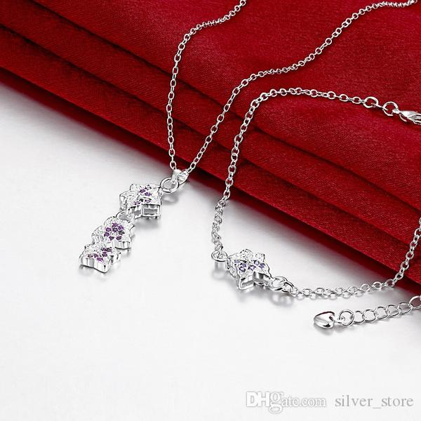 Noel hediyesi moda 925 gümüş kolye bilezik Yapraklar takı setleri STSS031A gümüş mavi taş yüzük kadınlar düğün sığacak