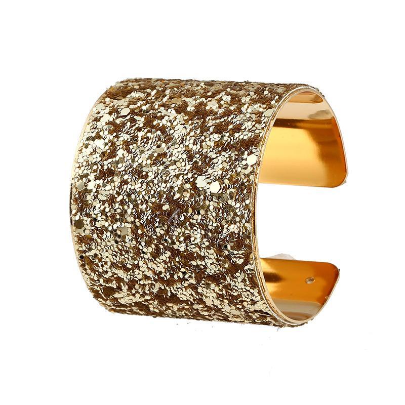 2017 nouvelle mode Vintage or couleur manchette Bracelet individualité mélanger couleur paillettes mosaïque bracelets jonc pour les femmes bijoux livraison gratuite