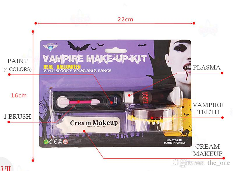 Halloween Tattoo Face Body Paint Oil Painting Art Non-toxic Water Paint horror make up palette Party Makeup vampire zombie Face Painting Set