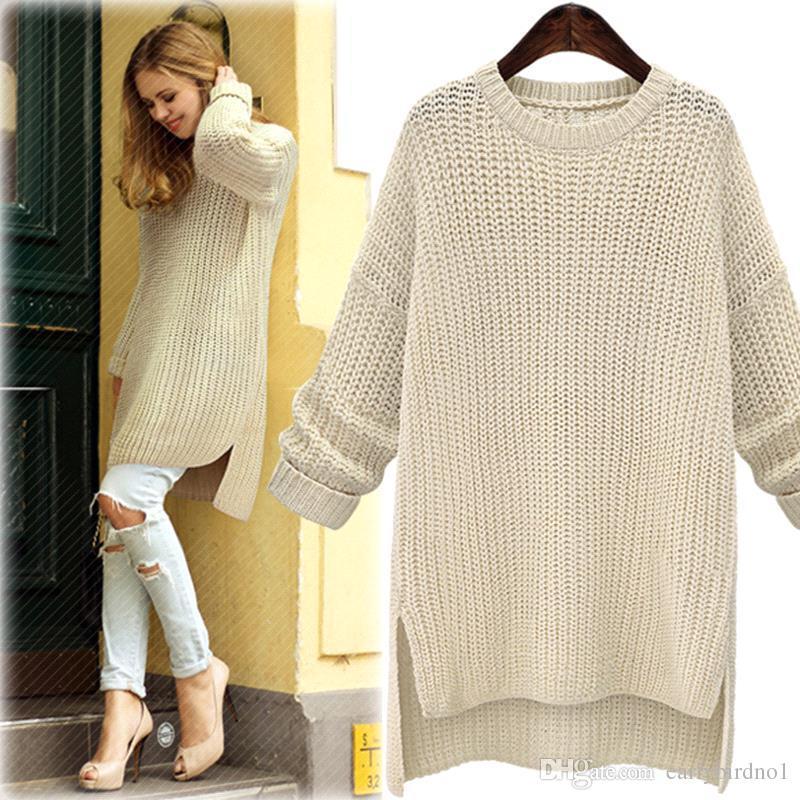 2018 2018 New Women Sweater Autumn Winter Knitted Long