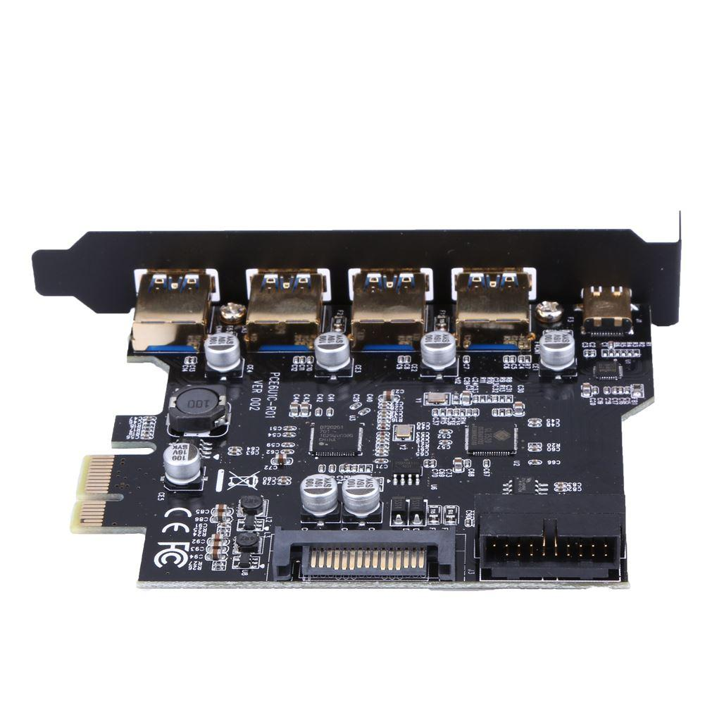 Freeshipping USB 3.0 type-c 4 Port PCI Express Expansion Card with sata power interface 19-Pin Power for PC computer for Win8/8.1/10