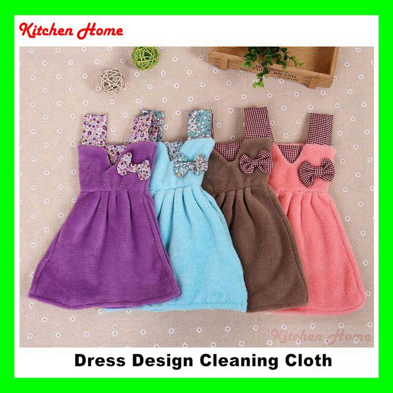 Lovely Cute Dress Design Kitchen Cleaning Towel Coral Velvet Home