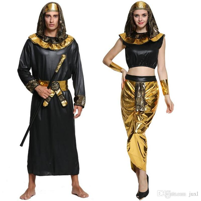 dc0c44a7c9f 2018 Men Women Egypt Pharaoh Cosplay Costume Adults Lovers Performance  Costumes Halloween Masquerade Party Dress Supplies Movie Costume Cosplay  Costume ...