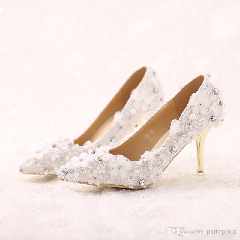 bf65501139a4 Beautiful White Lace Flower Bride Shoes Pointed Toe Stiletto Heels Formal  Dress Shoes Wedding Event Party Shoes Lady Prom Heels Yellow Bridal Shoes  Yellow ...