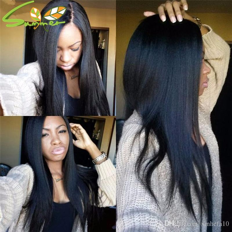 High Density Italian Yaki Kinky Straight Brazilian Virgin Human Hair Glueless Lace Front & Full Lace Wigs For African Americans