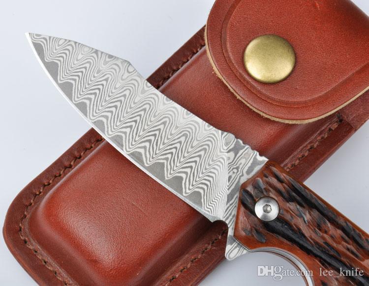 2016 alta più recente raccomanda re Eolo animale coltello V04 Damasco 61HRC espiare lavaggio di caccia di campeggio coltello pieghevole