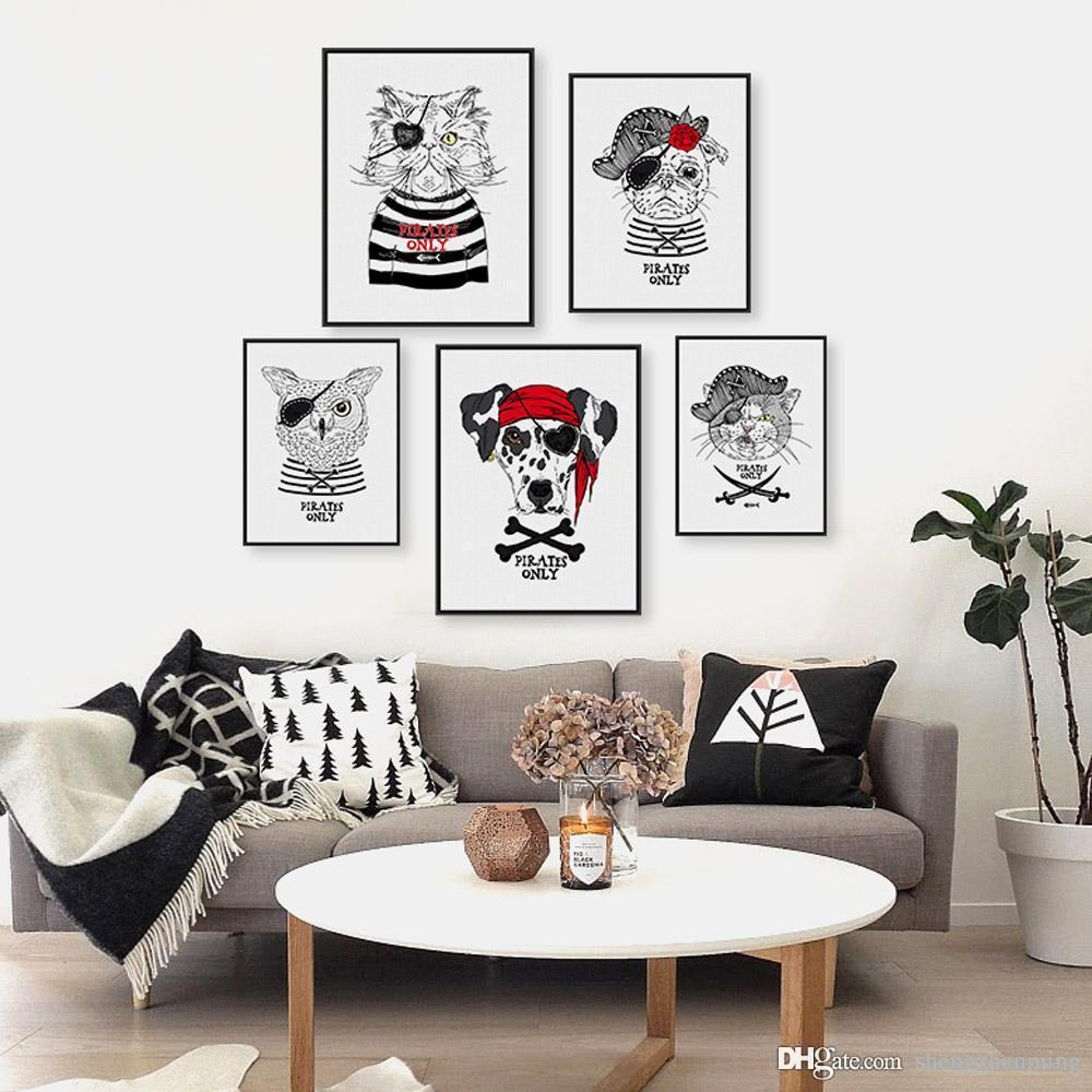 Modern Funny Pirate Kawaii Pet Cat Dog Fashions kids Room Wall Art Hippie Hipster Anmials Poster Prints Canvas Paintings Gifts