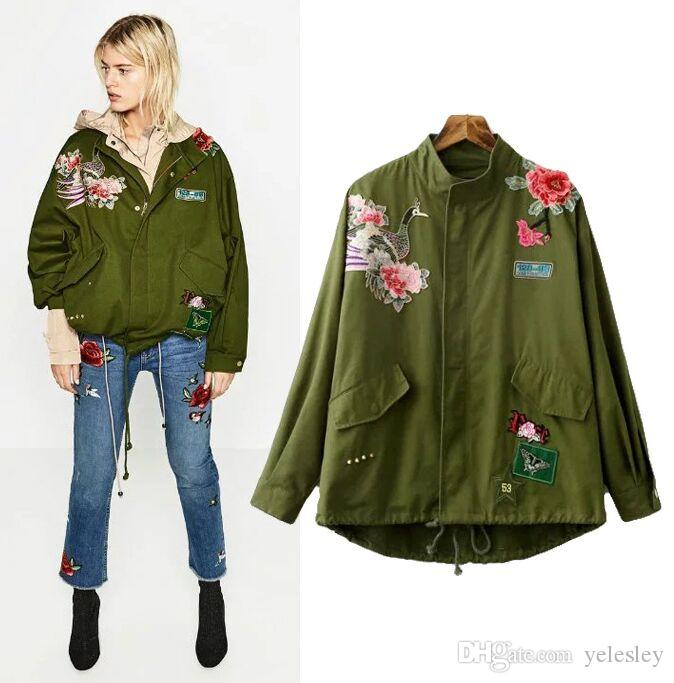 c0c37443f Jacket women Embroidery parker jackets spring jacket military army green  embroidery loose adjustable waist cardigans chaqueta mujer