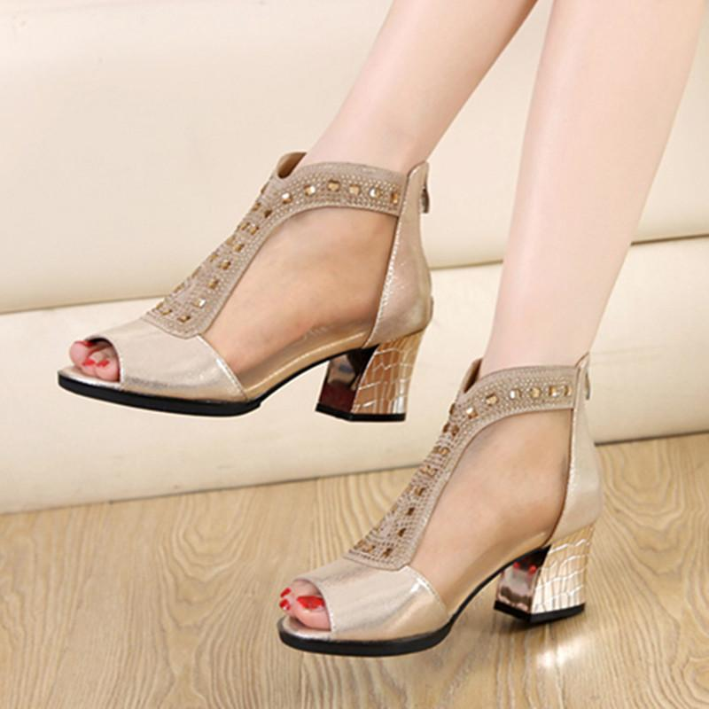 outlet affordable nicekicks sale online New European fish mouth female Leather Heels Sandals summer coarse sexy ladies shoes Rome shoes female hollow ebay cheap price online sale online VjoKXX