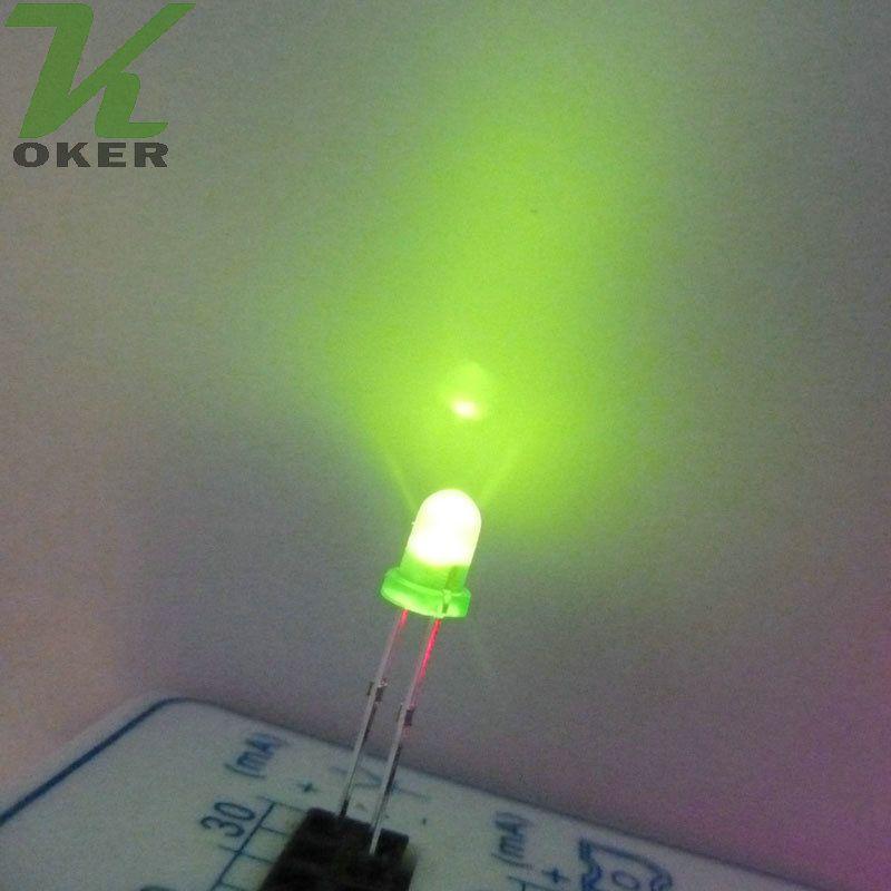3mm 녹색 확산 LED 조명 램프 방출 다이오드 안개가 자욱한 울트라 밝은 비드 플러그인 DIY 키트 연습 광각